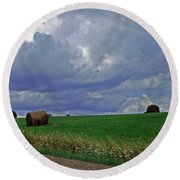 Over The Rise Round Beach Towel