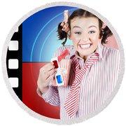 Overjoyed Nerd Woman At 3d Movie Premier Round Beach Towel