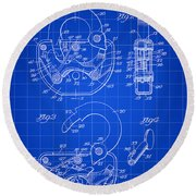 Padlock Patent 1935 - Blue Round Beach Towel by Stephen Younts