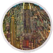 New York Mid Manhattan 1971 Round Beach Towel