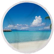Round Beach Towel featuring the photograph Palm Tree On The Beach, Moana Beach by Panoramic Images