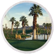 Palm Trees In A Golf Course, Desert Round Beach Towel