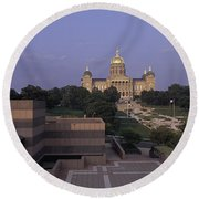 Panoramic View Of Iowa State Capitol Round Beach Towel by Panoramic Images