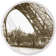 Round Beach Towel featuring the photograph Paris Exposition Eiffel Tower Paris France 1900  Historical Photos by California Views Mr Pat Hathaway Archives