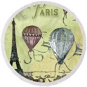 Paris Round Beach Towel