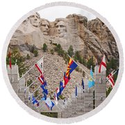 Round Beach Towel featuring the photograph Patriotic Faces by Mary Carol Story