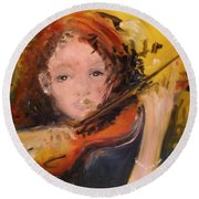 Round Beach Towel featuring the painting Pearl by Laurie L