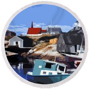 Peggy's Cove Round Beach Towel by Lydia Holly