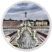Penarth Pier 5 Round Beach Towel by Steve Purnell
