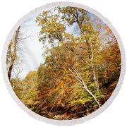 Pennsylvania Stream In Autumn Round Beach Towel