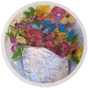 Petals And Blooms Round Beach Towel