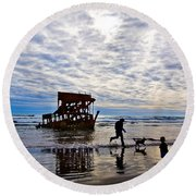 Peter Iredale Shipwreck, Fort Stevens Round Beach Towel