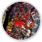 Petrified Wood Log Rainbow Crystalization At Petrified Forest National Park Round Beach Towel by Shawn O'Brien