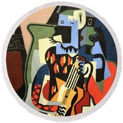Picasso's Harlequin Musician Round Beach Towel by Cora Wandel