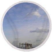Pier Sky Round Beach Towel