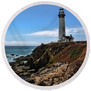 Pigeon Point Lighthouse Round Beach Towel by Judy Vincent