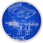 Pinball Machine Patent 1939 - Blue Round Beach Towel by Stephen Younts