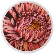 Round Beach Towel featuring the drawing Pink Mum by Bruce Bley
