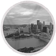 Pittsburgh - View Of The Three Rivers Round Beach Towel by Frank Romeo