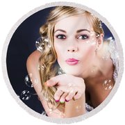 Playful Bride Blowing Bubbles At Wedding Reception Round Beach Towel