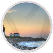 Point Judith Lighthouse Round Beach Towel by Juli Scalzi