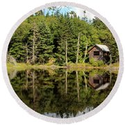 Pond Along The At Round Beach Towel