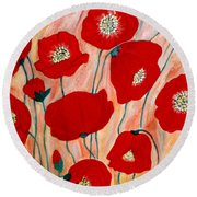 Poppies. Inspirations Collection. Round Beach Towel