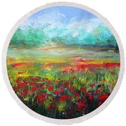 Poppy Fields Round Beach Towel by Vesna Martinjak