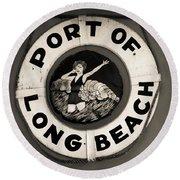 Port Of Long Beach Life Saver Vin By Denise Dube Round Beach Towel