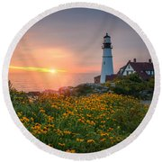 Portland Head Light Sunrise  Round Beach Towel by Michael Ver Sprill