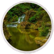 Round Beach Towel featuring the photograph Portland Japanese Gardens by Jacqui Boonstra