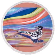 Round Beach Towel featuring the painting Posy 2 The Roadrunner by Phyllis Kaltenbach