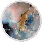 Round Beach Towel featuring the painting Practice by Laurie L