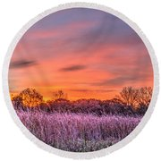 Illinois Prairie Moments Before Sunrise Round Beach Towel