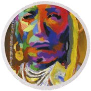 Proud Native American II Round Beach Towel by Stephen Anderson