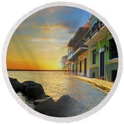 Puerto Rico Collage 4 Round Beach Towel by Stephen Anderson