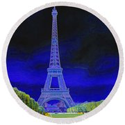 Purple Eiffel Round Beach Towel