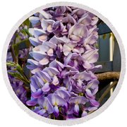 Purple Orchid Like Flower Round Beach Towel