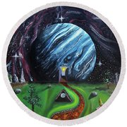 Round Beach Towel featuring the painting Quantum Dementia by Ryan Demaree
