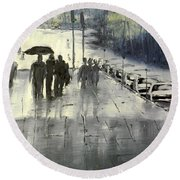 Rainy City Street Round Beach Towel
