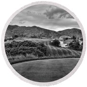 Round Beach Towel featuring the photograph Ravenna Golf Course by Ron White