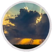 Rays From The Clouds Round Beach Towel