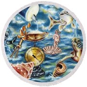 Round Beach Towel featuring the painting Recipe Of Ocean by Hiroko Sakai