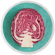 Red Cabbage Round Beach Towel by Tom Gowanlock