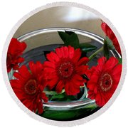 Red Flowers. Special Round Beach Towel