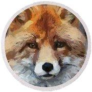 Red Fox Round Beach Towel by Dragica  Micki Fortuna