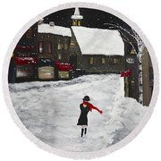 Red Scarf Winter Scene Round Beach Towel