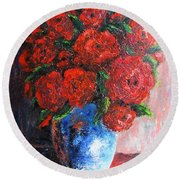 Round Beach Towel featuring the painting Red Scent by Vesna Martinjak