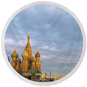 Red Square Moscow Russia Round Beach Towel