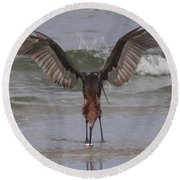 Reddish Egret Fishing Round Beach Towel